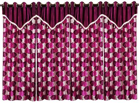 ZIKRAK EXIM ZECR148 PIPAL LEAVES PRINTED CURTAIN WITH FLAP PURPLE 4 PCS SET (48 X 84 INCHES)
