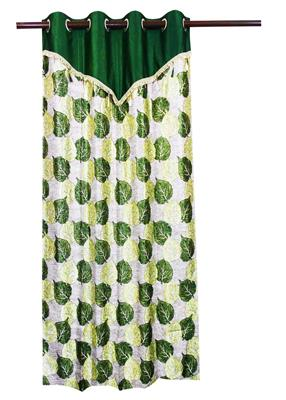 ZIKRAK EXIM ZECR157 PIPAL LEAVES PRINTED CURTAIN GREEN WITH FLAP 1 PC (48 X 84 INCHES)