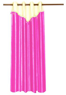 ZIKRAK EXIM ZECRW169 IVORY AND PINK WINDOW CURTAIN WITH FLAP 1 PC (48 X 60 INCHES)