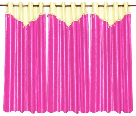 ZIKRAK EXIM ZECRW171 IVORY AND PINK WINDOW CURTAIN WITH FLAP 3 PCS SET (48 X 60 INCHES)