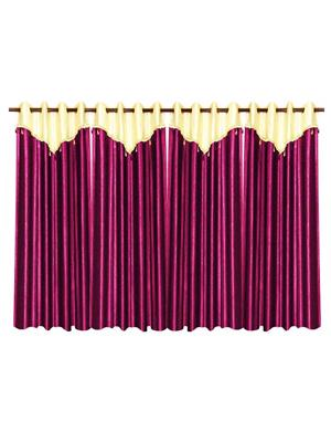 ZIKRAK EXIM ZECRW192 IVORY AND PURPLE WINDOW CURTAIN WITH FLAP 4 PCS SET (48 X 60 INCHES)