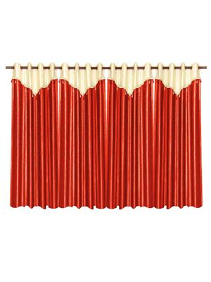 ZIKRAK EXIM ZECRW196 IVORY AND RUST WINDOW CURTAIN WITH FLAP 4 PCS SET (48 X 60 INCHES)
