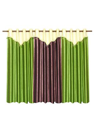 ZIKRAK EXIM ZECRW198 3 WINDOW CURTAINS COMBO WITH FLAP GREEN & BROWN(48 X 60 INCHES)