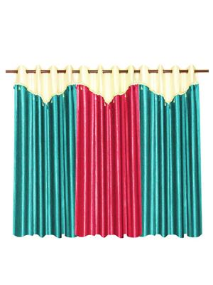 ZIKRAK EXIM ZECRW199 3 WINDOW CURTAINS COMBO WITH FLAP SKY BLUE & PINK(48 X 60 INCHES)
