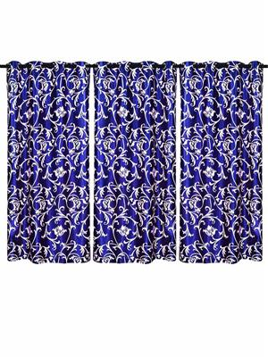 ZIKRAK EXIM ZECRW35 LIANA WINDOW CURTAIN BLUE 3 PCS SET (48 X 60 INCHES)