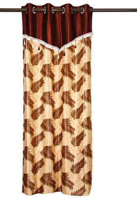 ZIKRAK EXIM ZECR89 PALM LEAVES CURTAIN WITH FLAP BROWN & BEIGE 1 PC (48 X 84 INCHES)