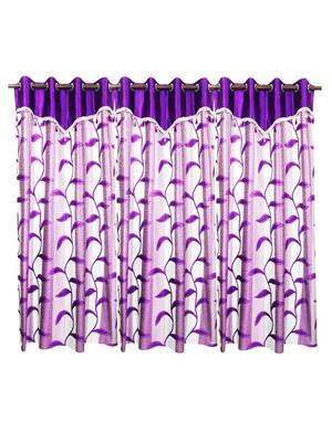 ZIKRAK EXIM ZECRD246 LEAVES STRING CURTAIN WITH FLAP PURPLE 2 PC _48 X 108 INCHES_