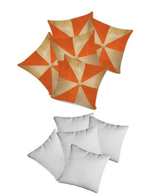 ZIKRAK EXIM ZEFL5007GIG DESIGN CUSHION WITH FILLERS BEIGE & ORANGE 10 PCS SET-40 X 40 CMS
