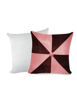ZIKRAK EXIM ZEFL5024GIG DESIGN CUSHION WITH FILLER PINK & BROWN 2 PCS SET -40 X 40 CMS