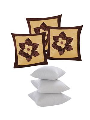 ZIKRAK EXIM ZEFL5070 BIG LILY FLOWER PATCH CUSHION WITH FILLERS BROWN & BEIGE 6 PCS SET -40 X 40 CMS