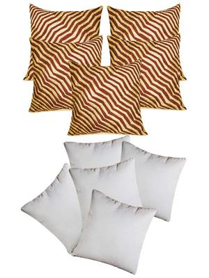 ZIKRAK EXIM ZEFL5143 ZIG ZAG PINTUCKS CUSHION WITH FILLERS BEIGE & BROWN 10 PCS SET -40 X 40 CMS