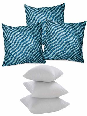 ZIKRAK EXIM ZEFL5166 ZIG ZAG PINTUCKS CUSHION WITH FILLERS BLUE & SKY BLUE 6 PCS SET -40 X 40 CMS