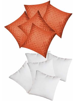 ZIKRAK EXIM ZEFL5259 SQUARE QUILTING CUSHION WITH FILLERS RUST 40 X 40 CMS _10 PCS SET_