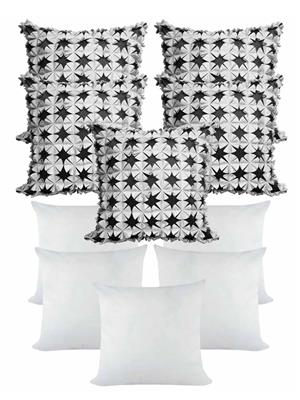 ZIKRAK EXIM ZEFL5347 LASER CUT FLORAL CUSHION WITH FILLERS SILVER AND BLACK 10 PCS SET _40X40 CMS _