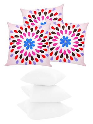 ZIKRAK EXIM ZEFL5370 Felt Leaves Cushion With Fillers PInk 40X40 Cms _Pack Of 6_