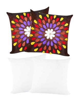 ZIKRAK EXIM ZEFL5381 Felt Leaves Cushion With Fillers Black 40X40 Cms _Pack Of 4_