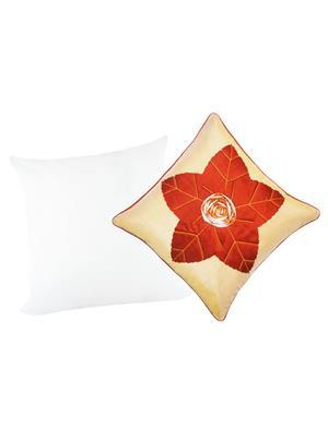 ZIKRAK EXIM ZEFL5420 Laser Flower Cushion With Filler Beige 40X40 Cms _Pack Of 2_