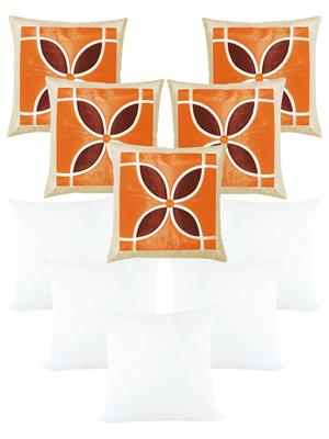 ZIKRAK EXIM ZEFL5918 Spiral Flower Orange Comb Cushion With Filler 40 X 40 cms (10 pcs set)