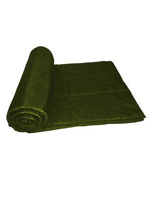 ZIKRAK EXIM ZEQLTQUEN128 Reversible Square Quilted Green Quilt 230 X 250 Cms