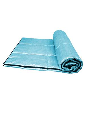 ZIKRAK EXIM ZEQUILT139 Stylish plain Sky Blue Quilt with Contrast Piping  150 x 225 cms