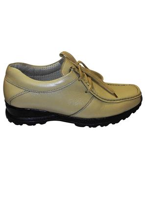 Zikrak Exim ZESH23 Beige Genuine Leather Stylish Casual Shoes