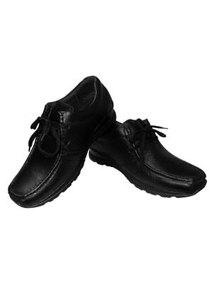 Zikrak Exim ZESH25M Black Genuine Leather Stylish Casual Shoes