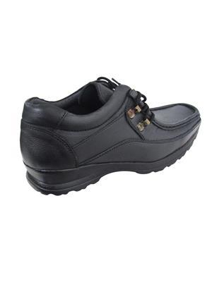Zikrak Exim ZESH35 Black Genuine Leather Stylish Lace Casual Shoes