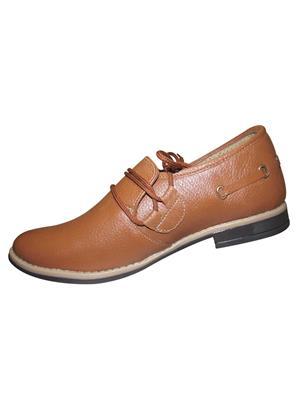 Zikrak Exim ZESH41 Tan Genuine Leather Stylish Lace Formal Shoes Style 41