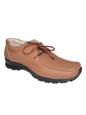 Zikrak Exim ZESH44 Tan Genuine Leather Stylish Lace Casual Shoes