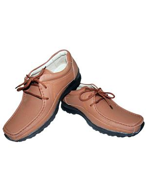 Zikrak Exim ZESH44 Tan Genuine Leather Stylish Lace Casual Shoes Style 44