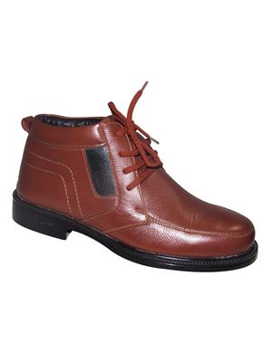 Zikrak Exim ZESH45S Brown Genuine Leather Stylish Lace Formal Shoes