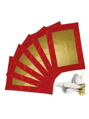 ZIKRAK EXIM ZETM10 LEATHER PATCH APPLIED BORDER PLACE MAT RED & GOLD 6 PCS SET
