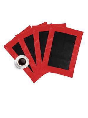 ZIKRAK EXIM ZETM19 LEATHER PATCH APPLIED BORDER PLACE MAT RED & BLACK 4 PCS SET