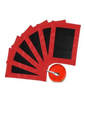 ZIKRAK EXIM ZETM20 LEATHER PATCH APPLIED BORDER PLACE MAT RED & BLACK 6 PCS SET