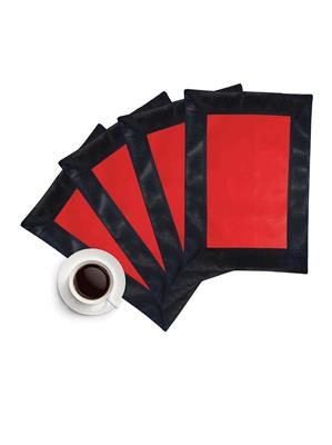 ZIKRAK EXIM ZETM27 LEATHER PATCH APPLIED BORDER PLACE MAT BLACK & RED 4 PCS SET