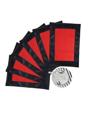 ZIKRAK EXIM ZETM28 LEATHER PATCH APPLIED BORDER PLACE MAT BLACK & RED 6 PCS SET