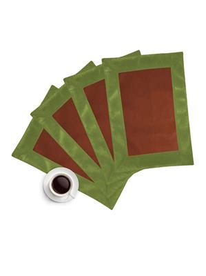 ZIKRAK EXIM ZETM35 LEATHER PATCH APPLIED BORDER PLACE MAT GREEN & BROWN 4 PCS SET
