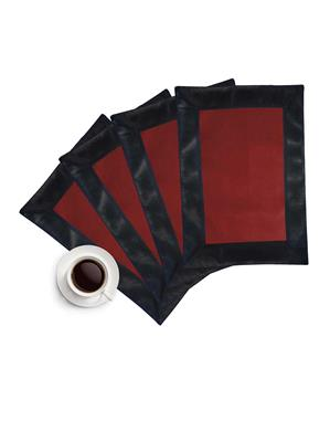 ZIKRAK EXIM ZETM41 LEATHER PATCH APPLIED BORDER PLACE MAT BLACK & BROWN 4 PCS SET