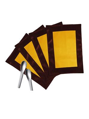 ZIKRAK EXIM ZETM47 LEATHER PATCH APPLIED BORDER PLACE MAT BROWN & YELLOW 4 PCS SET