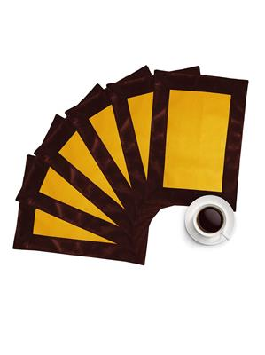 ZIKRAK EXIM ZETM48 LEATHER PATCH APPLIED BORDER PLACE MAT BROWN & YELLOW 6 PCS SET