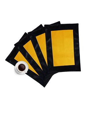 ZIKRAK EXIM ZETM49 LEATHER PATCH APPLIED BORDER PLACE MAT BLACK & YELLOW 4 PCS SET