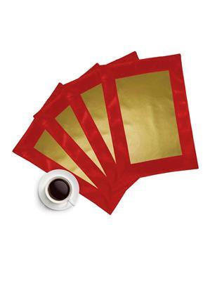 ZIKRAK EXIM ZETM9 LEATHER PATCH APPLIED BORDER PLACE MAT RED & GOLD 4 PCS SET
