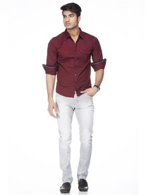 Spykar  W14-31 Maroon Mens Casual Shirt