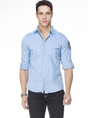 Spykar  S14-05 Blue Mens Casual Shirt