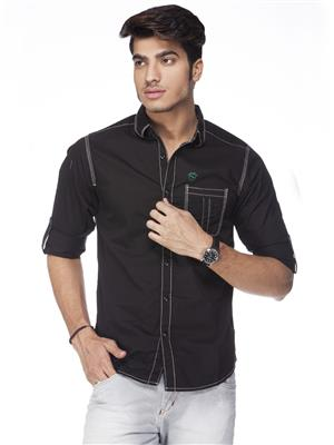 Spykar  W14-08 Black Mens Casual Shirt