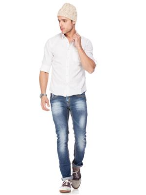 Spykar  W14-40 White Mens Casual Shirt