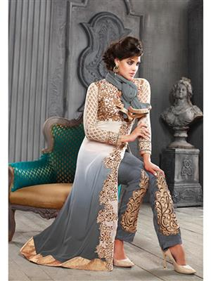 ADDA FASHION KESARI TRNDZ 5001-G GREY UNSTITCHED  WOMAN SUITS