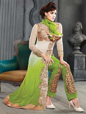 ADDA FASHION KESARI TRNDZ 5001-F GREEN UNSTITCHED  WOMAN SUITS