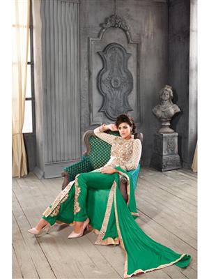 ADDA FASHION KESARI TRNDZ 5001-B GREEN UNSTITCHED  WOMAN SUITS