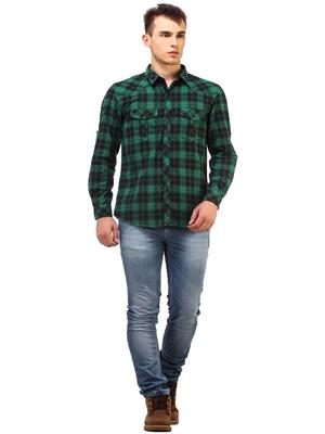 Apris S2914 Men Green Casual Shirt